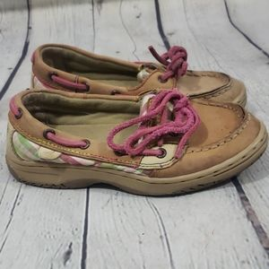 SPERRY TOP-SIDER TAN PLAID PINK BOAT SHOES